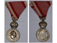 Austria Hungary WW1 Signum Laudis Military Merit Medal with Crown Silver Class Kaiser Franz Joseph 1911 1916 in Silvered Zinc