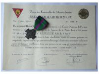 Belgium WW2 Recognition Cross of the Fraternal Unions of the Secret Army Bronze Class with Diploma