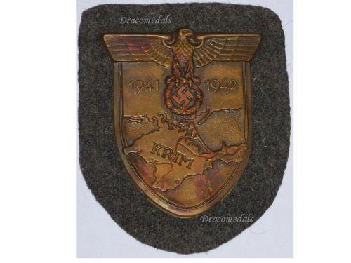 NAZI Germany WW2 Crimea Krim Shield Waffen SS Wehrmacht Military Badge  German Army Medal Manstein Barbarossa 1941 1942