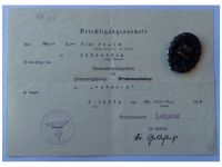 Germany WW1 Black Wound Badge Medal for the Army with Diploma to the 474th Infantry Regiment of Saxony