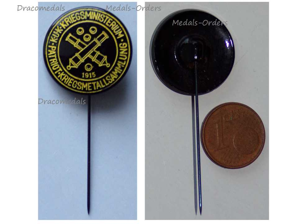 Austria Hungary WW1 Stick Pin Patriotic War Ministry Metal Collection Zinc  1915 WWI Great War 1914 1918 Cap Badge