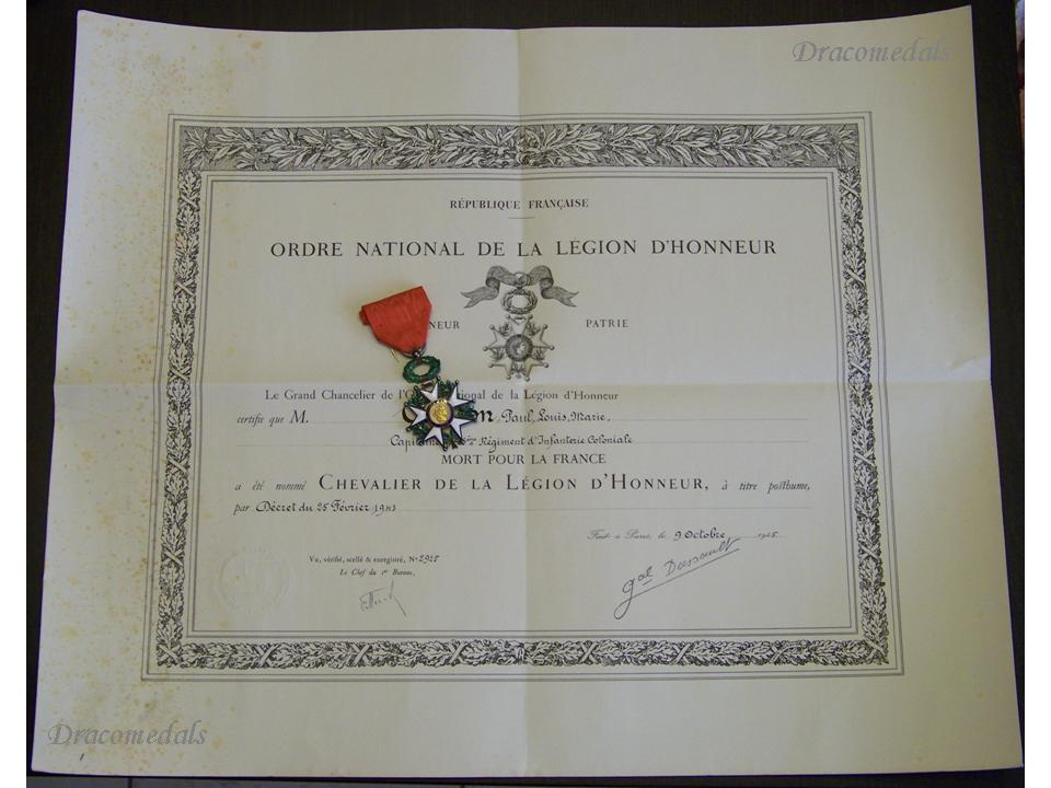 ww knight order legion honor medal captain infantry kia   ww2 order legion honor knight s cross captain infantry kia 1943 military medal diploma 1945 wwii