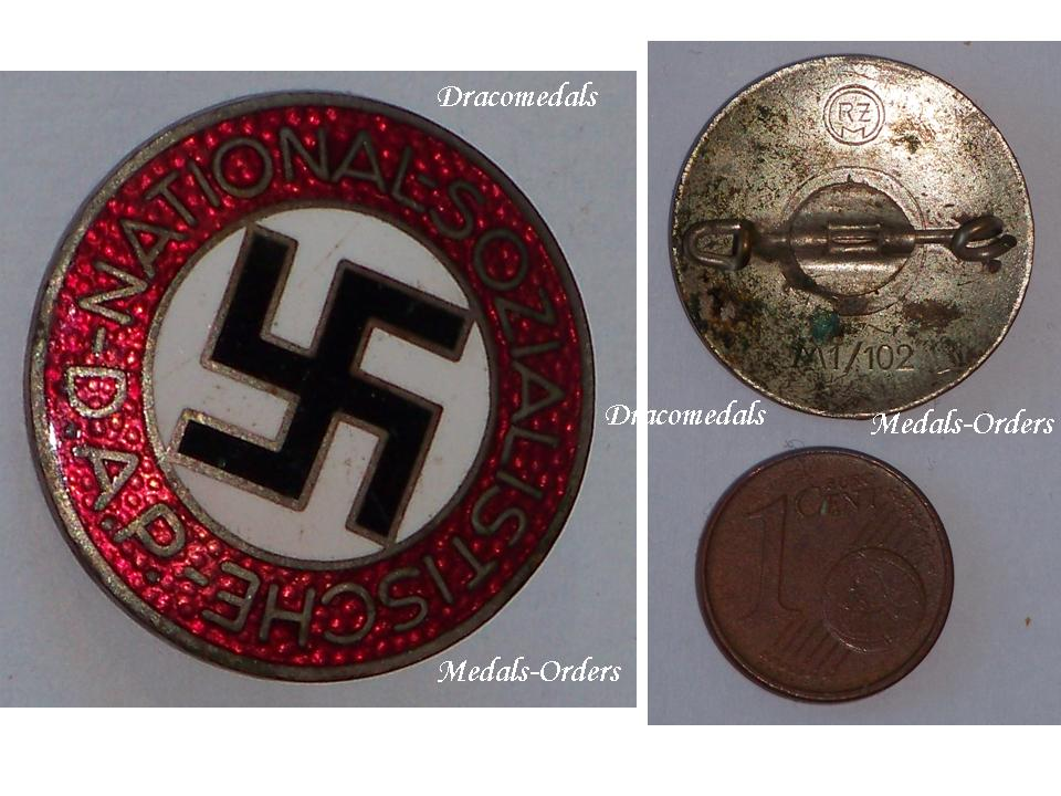 Nazi Germany Ww2 Nsdap Party Membership Badge German Decoration Wwii