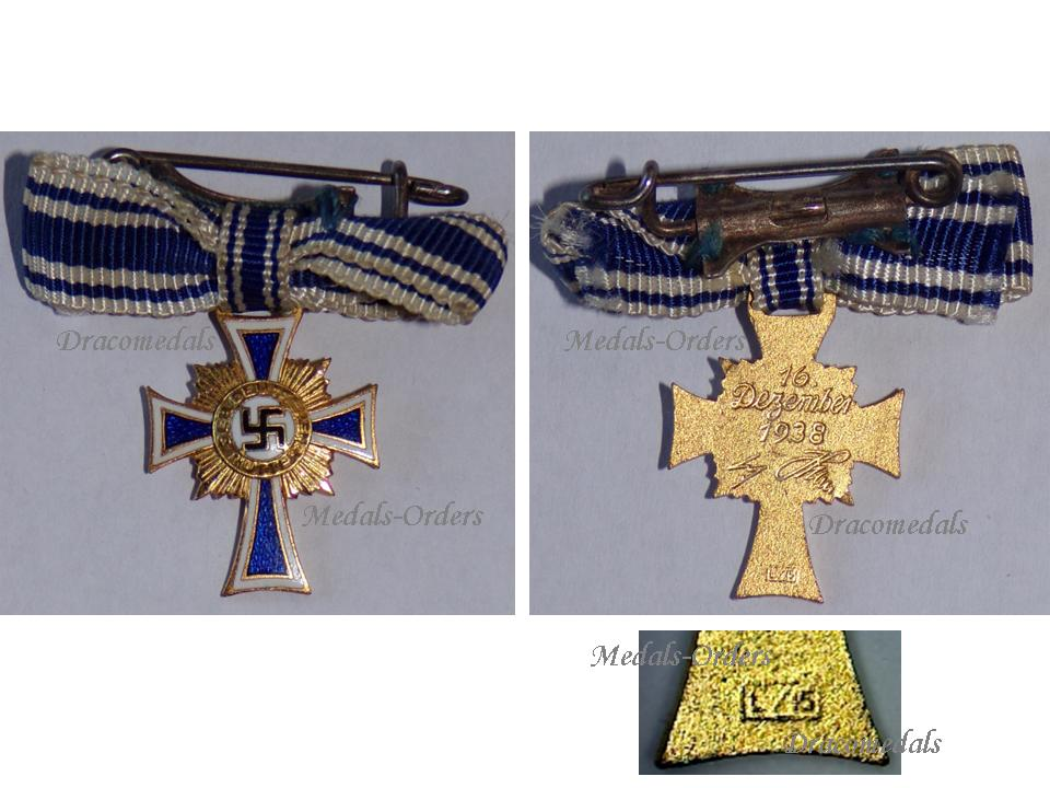 NAZI Germany WW2 Mothers Cross 1938 Gold 2nd Type Civil Medal WWII 1939  1945 German Military Decoration L/15 Maker Otto Schickle MINI