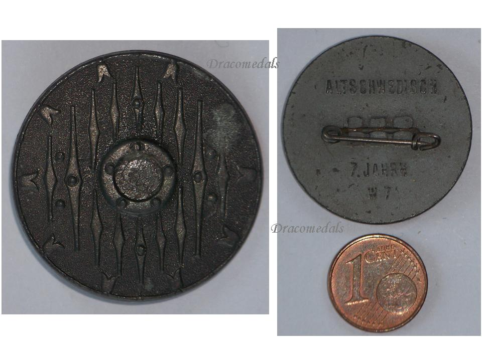 NAZI Germany WW2 German Old Swedish Shield W7 700 A D  Badge pin WHW Winter  Relief 1941 WWII 1939 1945